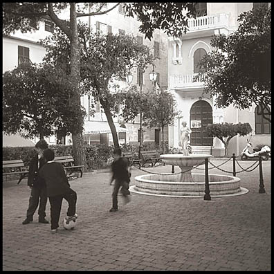 After school soccer on the plaza of