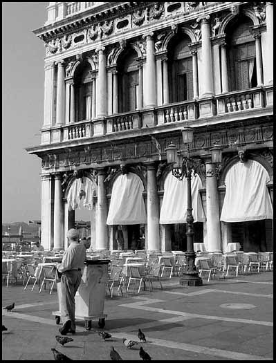 Venetian custodian taking a break in