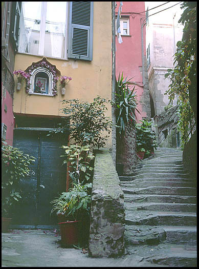 Secluded steps in a quiet alley of